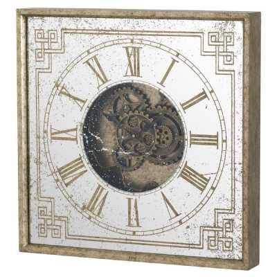 Distressed Mirrored Gold 60cm Square Framed Wall Clock with Moving Mechanism