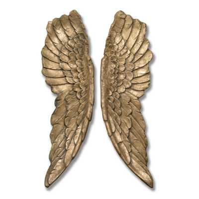 Pair of Antique Gold Large Angel Wings Wall Hanging Decoration 104x30x8cm