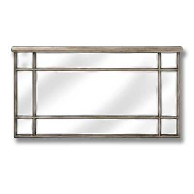 Gold Trim Mirrored Glass Rectangular Over Mantel Wall Mirror The Belfry Collection