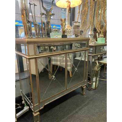 Art Deco Gold Mirrored Glass Cupboard Sideboard 2 Doors 1 Drawer Cabinet