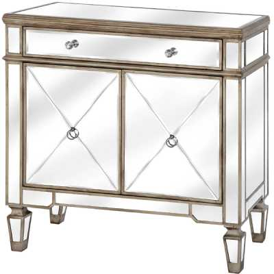 Belfry Champagne Gold One Drawer Two Door Mirrored Glass Cupboard