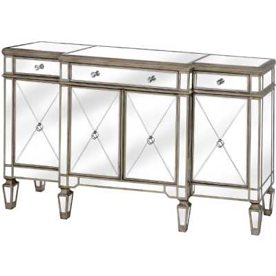 The Belfry Collection Large Wide Champagne Mirrored Glass Sideboard
