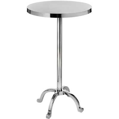 Round Contemporary Polished Silver Nickel Metal Cocktail Bar Side Table