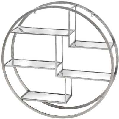 Large Circular Silver Wall Hanging Multi Shelf Unit with Glass Shelves