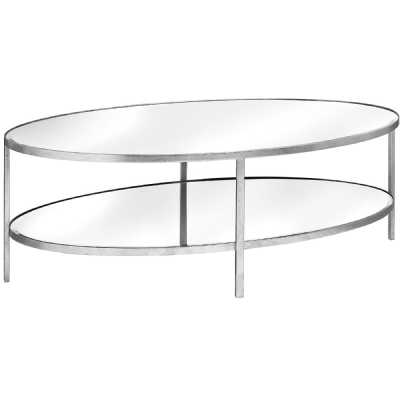 Large Silver Metal Finished Mirrored Glass Oval 2 Shelf Coffee Table
