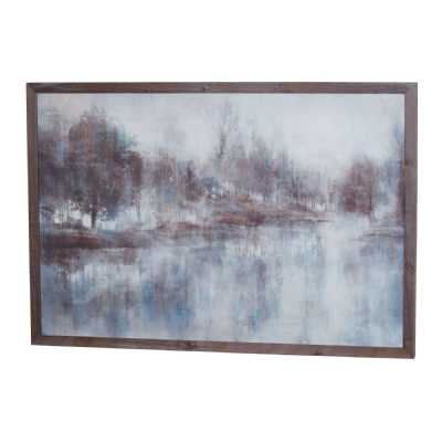 Woodland Reflection Painting On Cement With Wooden Frame Wall Art