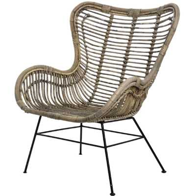 Full Rattan Brown Wing Chair On Black Metal Legs The Bali Collection