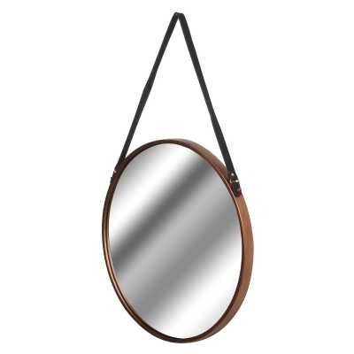 Copper Rimmed Round Hanging Wall Mirror With Black Strap