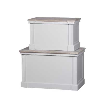 Set Of 2 Wooden White Painted Grey Wash Blanket Boxes The Liberty Collection
