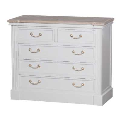 Liberty White Painted 2 Over 3 Chest Of Drawers Whitewash Wooden Top
