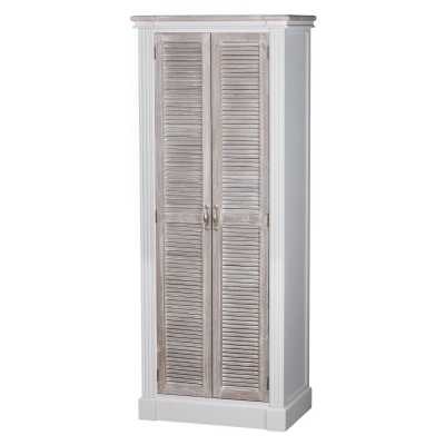 Traditional White Painted Wooden Tall Shoe Cupboard With Louvred Door