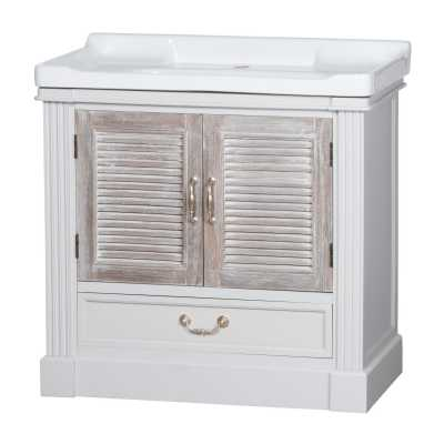 Liberty White Painted Grey Wash Vanity Sink Unit With Louvred Doors