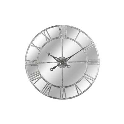 Silver Foil Mirrored Wall Clock