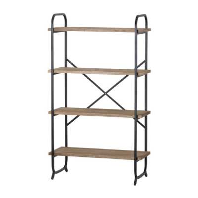 4 Tier Shelf Cross Section Industrial Natural Grain Wood Metal Display Shelving Unit