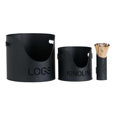 Black Finish Logs And Kindling Buckets And Matchstick Holder