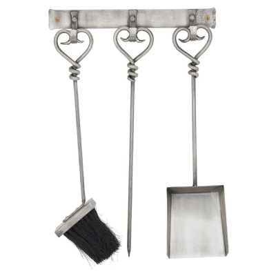 Hanging Antique Pewter Fireside Companion Set With Heart Detailing