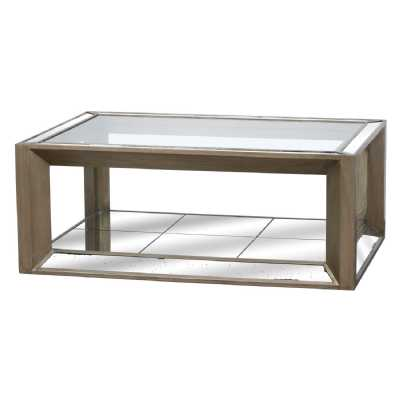 Large Augustus Mirrored Painted Antique Metallic Finished Coffee Table