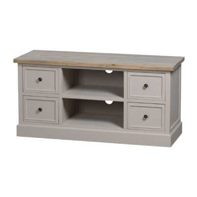 The Studley Grey Painted Collection 4 Drawer TV Media Unit Wooden Top