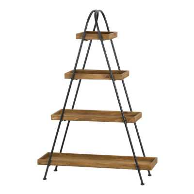 Industrial Style Contemporary Metal Wood Large Display Shelf Geometric Triangular Shaped Loft Collection
