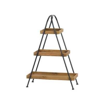 Loft Collection Triangular Shaped Black Metal Framed 3 Tier Brown Wood Display Shelf
