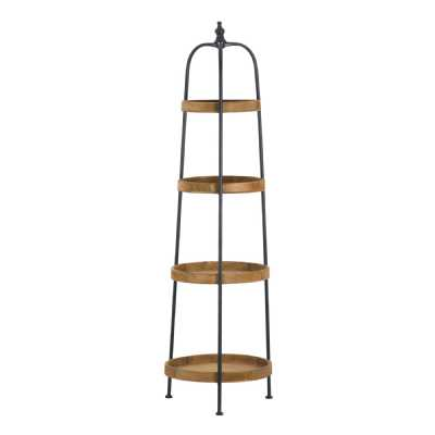 Industrial Style Contemporary Round Metal Wood Display Shelf Loft Collection