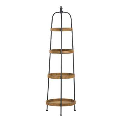 Industrial Style Round Metal Wood Display Shelf Loft Collection