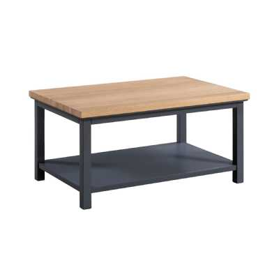 Industrial Farmhouse Slate Blue Oak Coffee Table With Shelf The Richmond Collection