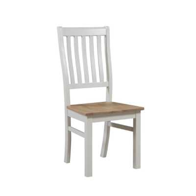 Off White Finished Wooden High Back Slat Dining Chair The Ripley Collection