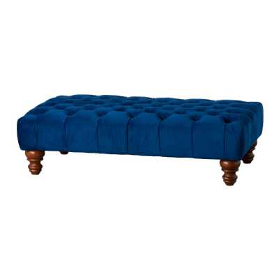 Navy Blue Velvet Fabric Button Tufted Large Rectangle Ottoman Stool