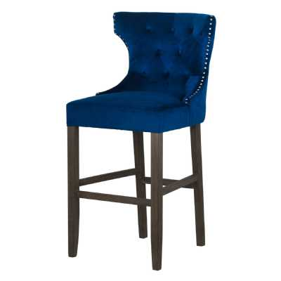 Navy Blue Velvet Fabric Upholstered Button Tufted Studded Wing Back High Bar Stool