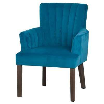 Teal Blue Velvet Fabric Upholstered Scalloped Back Chair
