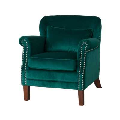 Emerald Green Velvet Fabric Low Backed Studded Armchair Contemporary