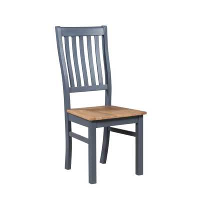 Industrial Farmhouse Designed Slate Blue Oak Seat Dining Chair The Richmond Collection