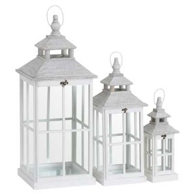Set Of 3 White Painted Wooden Glass Window Style Lanterns With Open Top