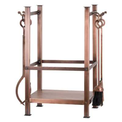 Copper Finish Metal Square Firewood Log Holder With Companion Set