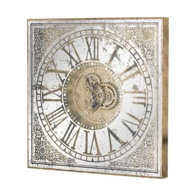 Large Gold Mirrored Square Wooden Framed Wall Clock With Moving Mechanism