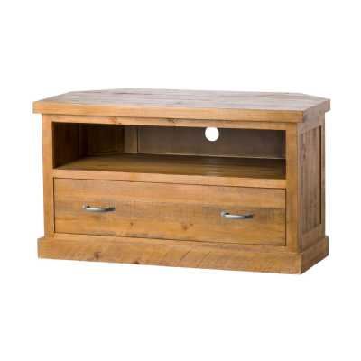 Deanery Rustic Brown Reclaimed Pine Wood 1 Drawer Corner TV Media Unit