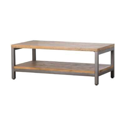 Draftsman Industrial Pine Wood And Metal Console Table With Shelf