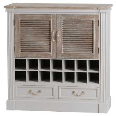 Grey Painted White Washed Drinks Cabinet Wine Rack 2 Louvred Doors Wooden Top