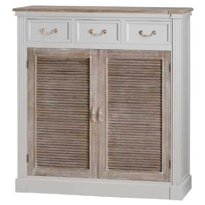 Grey Painted 3 Drawer 2 Door Storage Cupboard Sideboard Wood Doors Top 120cm Wide