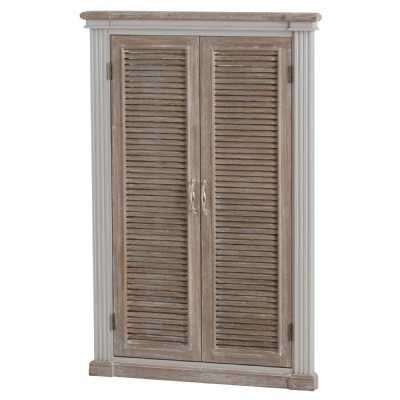 Wooden White Painted Grey Wash Top Louvered Door Mirror The Liberty Collection