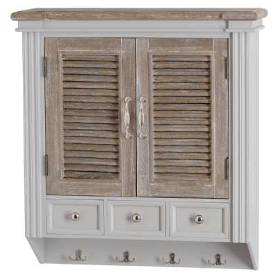 Grey White Painted Wooden 3 Drawer 2 Louvred Doors Wall Unit With Storage The Liberty Collection