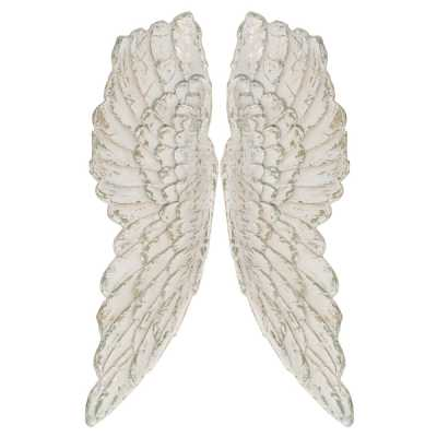 Pair of Antique White Large Angel Wings Resin Wall Hanging Decor