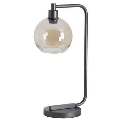 Industrial Modern Metal Black Base Desk Lamp With Smoked Glass Shade
