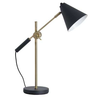 Black and Brass Metal Adjustable Industrial Desk Lamp with Cone Shade