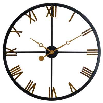 Black And Gold Roman Numerals Skeleton Round Station Clock 80cm