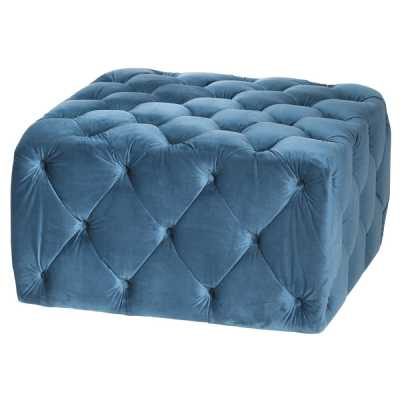 Contemporary Darcy Blue Velvet Fabric Button Pressed Square Ottoman