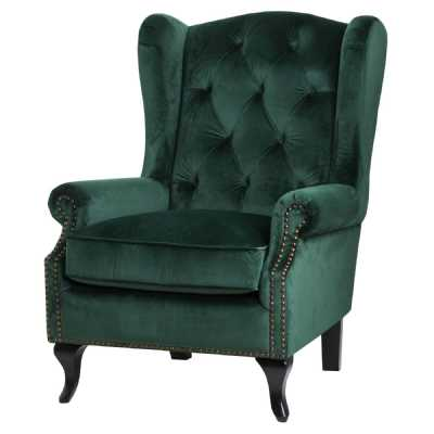 Emerald Green Velvet Fabric Button Pressed Studded Wing Back Chair