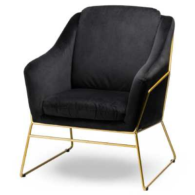 Black Velvet Contempory Chair With Brass Piping