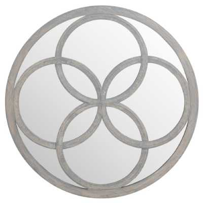 Flower of Life Cut Out Featured Grey Painted Round Wooden Mirror